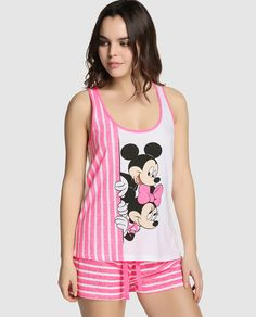 Camiseta de pijama de Disney para Easy Wear Íntimo con Mickey y Minnie Mouse