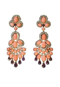 """These are the Lamartine earrings that match the bracelet (A gift from Richard Burton to Liz Taylor after the filming of """"Cleopatra"""")  He wanted amethysts to match her eyes."""