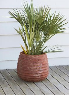 This Medium Winstone Planter has a striking rusted style finish with ribbed design