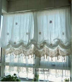 Shabby Chic Drawnwork Combined Hand Crochet White Balloon Curtains, French Pinch Pleat Drapes, Drapery Curtains R002
