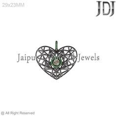 Fabulous Chrome Diopside Polki Diamond 925 Silver Filigree Heart Pendant Jewelry #Handmade #Pendant #heart #diopside #diamond #beautiful