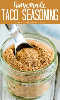 Making homemade Taco Seasoning Mix is so easy, and the taste can't be beat. You may want to triple the batch so you can always have it on hand for Taco Tuesday! #homemadetacoseasoning #tacomeatseasoning #tacoseasoning #glutenfreetacoseasoning #ketotacoseasoning -Creations by Kara Taco Seasoning From Scratch, Taco Meat Seasoning, Gluten Free Taco Seasoning, Homemade Taco Seasoning Mix, Homemade Tacos, Seasoning Mixes, Taco Mix, Peanut Butter Bites, Ground Beef Tacos
