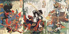 The 108 Heroes of the Popular Suikoden: Chôkanko Chintatsu, Kyumonryô Shishin, Hakkwaja Yôshun and Jinkigunshi Shubu. 1827-1830. White.