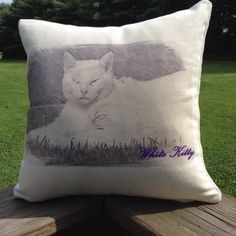 Your Photo! A Child, A Pet, Any Photo! Digitally Sketched Memory, 12x12 Decorative Pillow Cover, Personalized Gift, Free Insert Included.