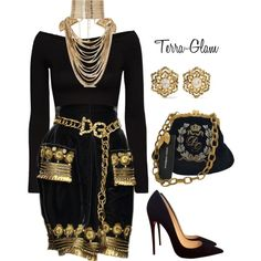 Black Royalty by terra-glam on Polyvore featuring polyvore, fashion, style, Torn by Ronny Kobo, Christian Louboutin, Dolce&Gabbana, Rosantica, Fred Leighton and clothing