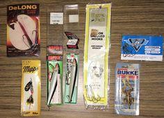 Vintage Fishing Lure Bait Lot Hooks Rapala DeLong Mepps Burke Frog Black Fury #VintageFishingLureBaitLotHooksRapalaDeLong