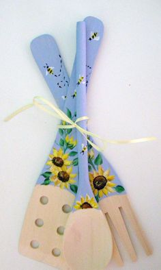 Sunflowers on Wooden Kitchen Utensils by purplepetalsstudio, $10.50