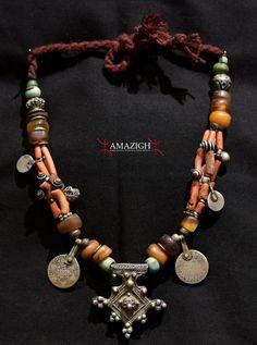 Old Berber Necklace – Boghdad - Silver, Amber, Coral - South Morocco