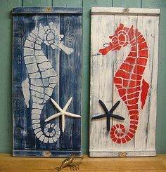 Seahorse Wall Art by CastawaysHall - These would make a great headboard lined up!:
