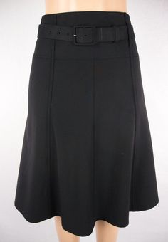 THEORY Skirt Size 4 S Black Wool Stretch Full Career Wear To Work #Theory #FullSkirt