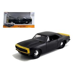 1967 Chevrolet Camaro Matt Black /Yellow 1/24 Diecast Model Car by Jada