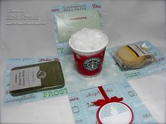 It opens up to reveal a nice, hot Starbucks Latte with plenty o' whip cream along with some yummy cookies to enjoy with said latte. Luuuuuv the coffee~ just not the coffee breath :{ so I also included some fresh breath mints :) The Starbucks card is in the holder behind the cup that fits just *perfectly* in the box. I made a little ornament tag that hangs in front.