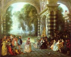 Page: The pleasures of the ball  Artist: Antoine Watteau  Completion Date: 1714  Style: Rococo  Genre: genre painting  Technique: oil  Material: canvas  Dimensions: 52.7 x 65.7 cm  Gallery: Dulwich Picture Gallery, UK