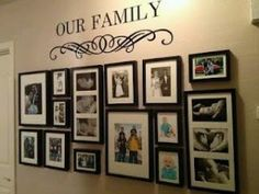Here's my finished photo wall collage! Here's my finished photo wall collage! Family Pictures On Wall, Display Family Photos, Photo Wall Collage, Picture Wall, Pic Collage Ideas, Family Picture Collages, Photowall Ideas, Photo Arrangement, Family Wall Decor