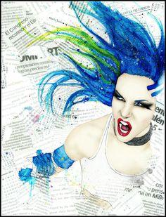 A collage portrait of the gorgeous Alissa White-Gluz