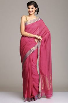 Cotton Sarees | Mangalagiri | Pink Mangalagiri Cotton Saree With Blue Gold Zari Border And Gold Zari Striped Pallu | IndiaInMyBag.com