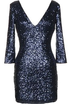 Midnight Glitz Dress: Features a double V-neckline framed by elegant three-quarter length sleeves, hundreds of sparkling sequin pieces covering the entire dress, and a centered rear zip closure to finish.
