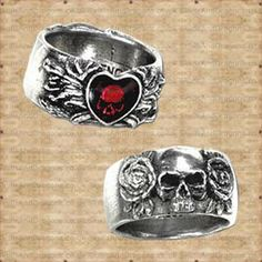 Broken Heart Ring in Rings from Jewellery. Skulls, roses and hearts feature on this double sided ring of love, pain and sorrow, featuring an enamelled Gothic Jewellery, Dragon Ring, Alchemy, Skulls, Pewter, Class Ring, Dragons, Heart Ring, Beans