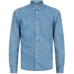 Sandro Heritage Denim Shirt (710 BRL) ❤ liked on Polyvore featuring men's fashion, men's clothing, men's shirts, men's casual shirts, vintage style mens shirts, mens denim shirt, mens straight hem shirts and mens button down collar shirts