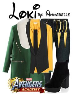 """""""Loki - Avengers Academy"""" by annabelle-95 ❤ liked on Polyvore featuring BLK DNM, Harrods, Edun, Yves Saint Laurent, Alexander Wang, New Look and Ona Chan"""
