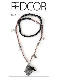 Redcor Kette mit Liebe von Hand gefertigt!  - Kreuz, Buddha, Perlen, Hand