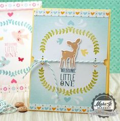 Welcome Little One Card by Betsy Veldman for Papertrey Ink (April 2015)