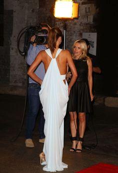 white draping dress