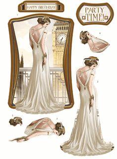 Debbi Moore Designs - Die Cut Art Deco London decoupage toppers - ivory gown
