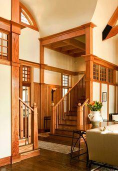 Craftsman Staircase, Craftsman Interior, Craftsman Style Homes, Craftsman Bungalows, Craftsman Houses, Interior Trim, Modern Interior, Craftsman Porch, Craftsman Remodel