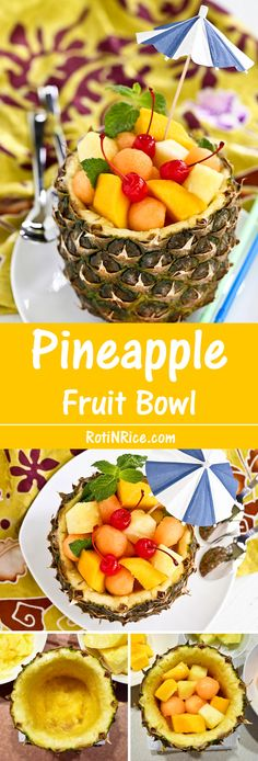 A quick tutorial on how to prepare a Pineapple Fruit Bowl filled with seasonal fruits as a fun summer treat. | Food to gladden the heart at RotiNRice.com