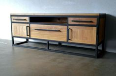 Image of: industrial steel furniture buzzlike reclaimed wood bench entertainment center console heavy duty industrial Welded Furniture, Iron Furniture, Steel Furniture, Classic Furniture, Unique Furniture, Furniture Makeover, Furniture Cleaning, Upcycled Furniture, Furniture Ideas