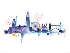 London Skyline Art Print by Summer Thornton at King Watercolour Painting, Painting Prints, Wall Art Prints, Poster Prints, Canvas Prints, Paintings, Skyline Painting, Skyline Art, Skyline Von London