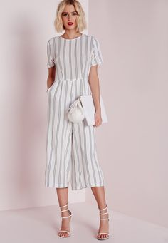 Missguided - Stripe T-shirt Culotte Jumpsuit White