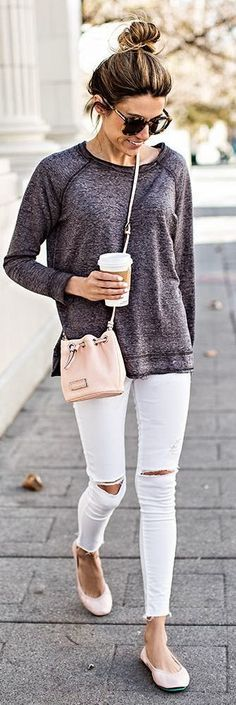 White and Grey Classic Street outfits