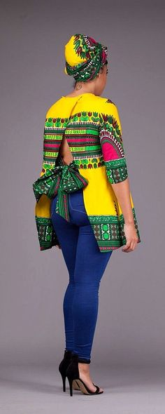 Yellow Dashiki Top. A beautiful statement unlined top ready to wear either with your favourite pair of jeans or skirt. Doesn't come with the Headwrap. Ankara | Dutch wax | Kente | Kitenge | Dashiki | African print bomber jacket | African fashion | Ankara