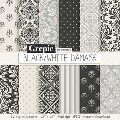Black / gray damask digital paper: BLACK / WHITE DAMASK by Grepic