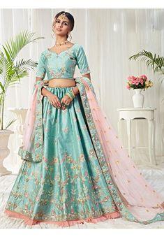 Ice Blue Embroidered Silk Bridal Lehenga Choli