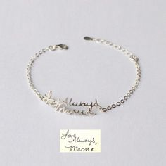 Turn loved ones' sentimental handwritten note into stunning memorial handwriting jewelry and keepsakes. Engraved Bracelet, Name Bracelet, Anniversary Ideas For Her, Bar Necklace, Necklace Ideas, Custom Name Necklace, Bridesmaid Bracelet, Sentimental Gifts, Gifts For Husband