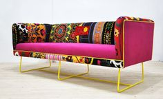 Suzani box sofa - yellow rose