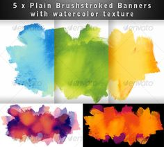 5 color variants of a watercolor texture for a banner for Photoshop.. Great for a web background, web header or to add focus to a product.