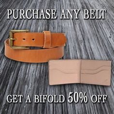 Limited time offer 50% off any bifold wallet with purchase of a belt! NO PROMO CODE NEEDED!  Must add your belt to the cart first. #1350Leather #MadeInAmerica #QualityGoods