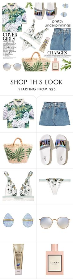 """""""Green and Tropical"""" by kenguri ❤ liked on Polyvore featuring Dolce&Gabbana, RE/DONE, Hollister Co., La Perla, Melissa Joy Manning, Ray-Ban, Phyto and Gucci"""