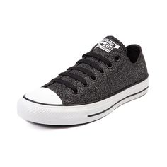 A shining standout from the rest, this exclusive edition Chucks All Star Lo features shimmery black glitter canvas upper and durable rubber Converse sole. <b>Available only at Journeys and SHI!</b><br><br><b>Please note that this shoe runs a half size large.</b>  <br><br>Manufacturer style 145296C