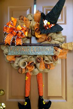 Halloween Witch Burlap Wreath for Nee***I believe she needs to see a Nationwide agent if she continues to hit doors and walls. Holidays Halloween, Halloween Crafts, Halloween Decorations, Halloween Wreaths, Burlap Halloween, Halloween Clothes, Costume Halloween, Halloween Ribbon, Happy Halloween