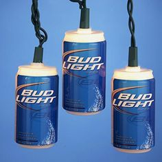 Set of 10 Anheuser-Busch Bud-Light Beer Can Christmas Lights - Green Wire 875ee49fd0dc