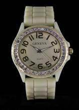 Crystal Large Round Face Bone Silicone Watch www.sterlingjewelrystores.com