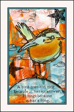 """Creativity: Flaming June. Just bought this stamp set, """"Scribbly Birds"""" Dina Wakley and Ranger. Anxious to ink the rubber! This is gorgeous!"""