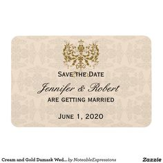 Cream and Gold Damask Wedding Save the Date