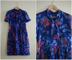 Vintage Pussy Bow Collar Floral Print Dress