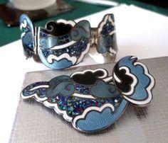 Margot de Taxco Set Bracelet Pendant - brooch Sterling Silver Confetti Enamel